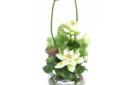 Lotus arrangement in fish bowl