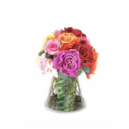 Mixed roses intapered vase