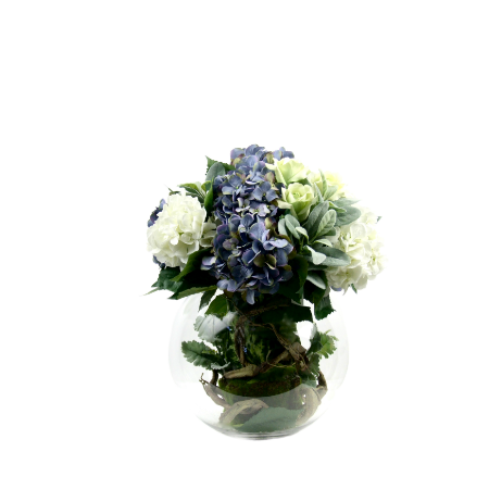 Hydrangea arrangement in fishbowl