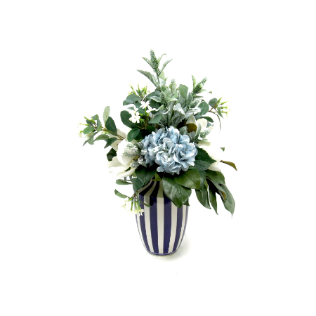 Blue hydrangea and magnolias