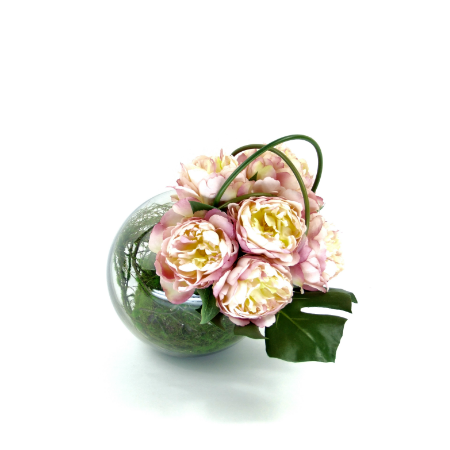 peonies in fish bowl