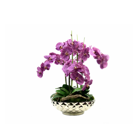 Purple orchids in silver bowl